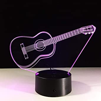 Illusion Light 3D Light Guitarra Eléctrica Illusion 3D Light Led 7 Cambio De Color Usb Touch