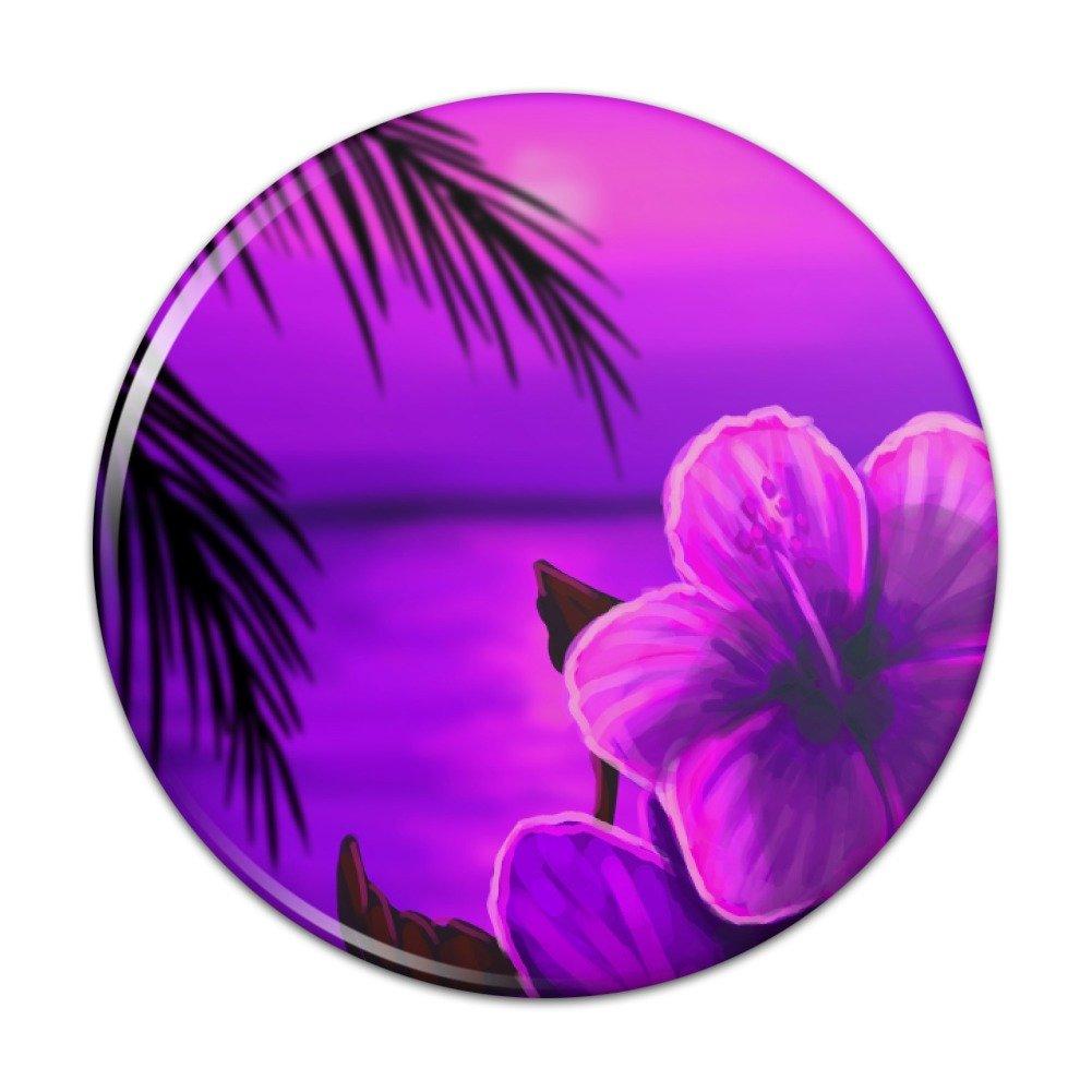 Beach Sunset Hibiscus Flower Hawaiian Purple Compact Pocket Purse Hand Cosmetic Makeup Mirror – 2.25 Diameter