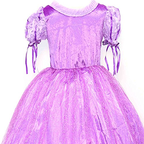 LOEL Girls Crew-Neckone Vintage Swing Rapunzel Princess Party Costume Long Dresses
