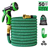 Greness 50 ft Garden Hose,Lightweight Expandable Garden Water Hose with 3/4 inch Solid Brass Fittings,Durable Outdoor Gardening Flexible Hose for Yard,Expanding Garden Hoses 9 Function Spray Nozzle
