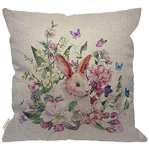 HGOD DESIGNS Happy Easter Rabbit Pillow,Watercolor Spring Greeting Card White Bunny Blooming Branches of Peach Pear Apple Eggs Feathers Butterflies Burlap Pillow Cases Decorative for Home 18x18 Inch