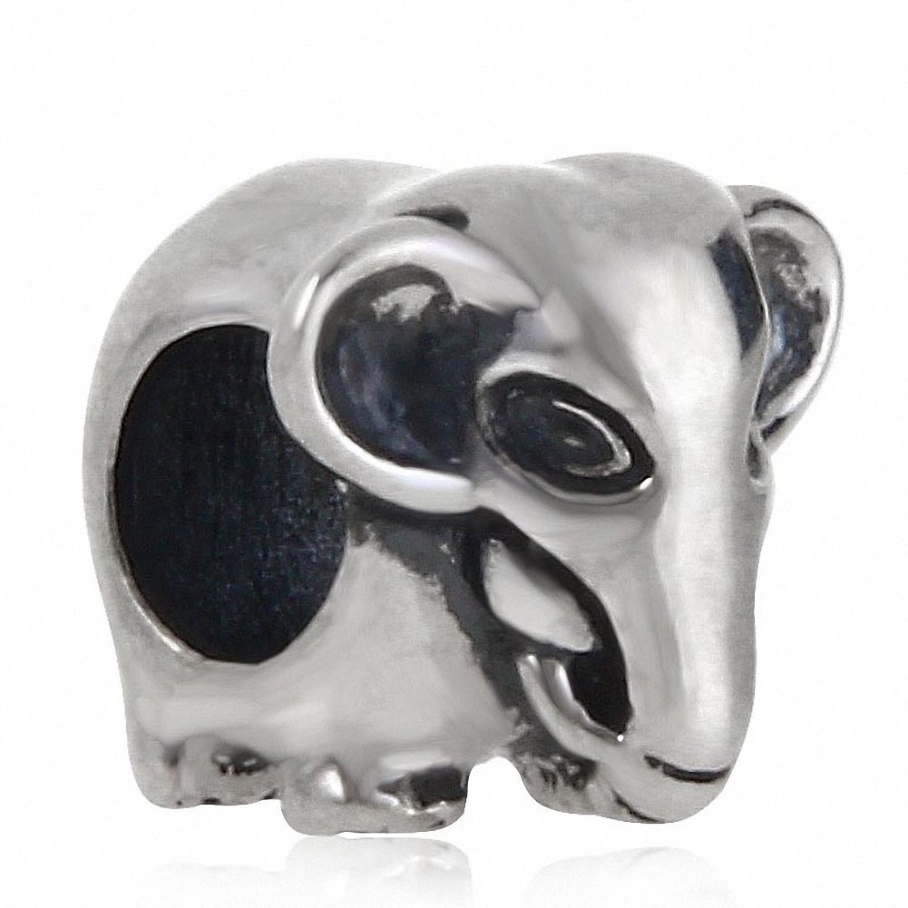 Elephant Animal 925 Sterling Silver Charms European Beads for Snake Chain Bracelets