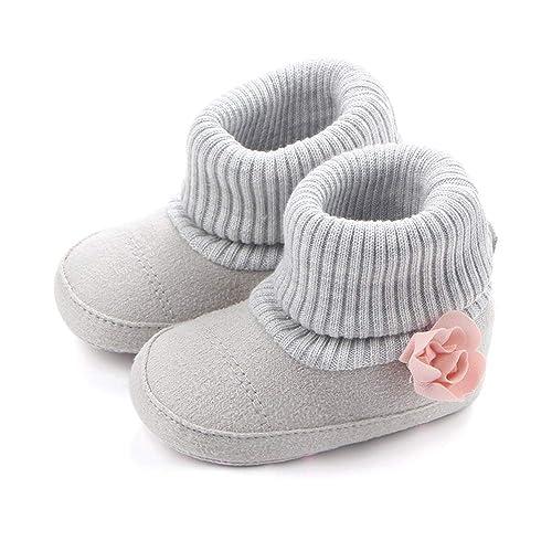 d58adb385 Nagodu Zapatos para Bebe niñas Gris con Flor Rosa