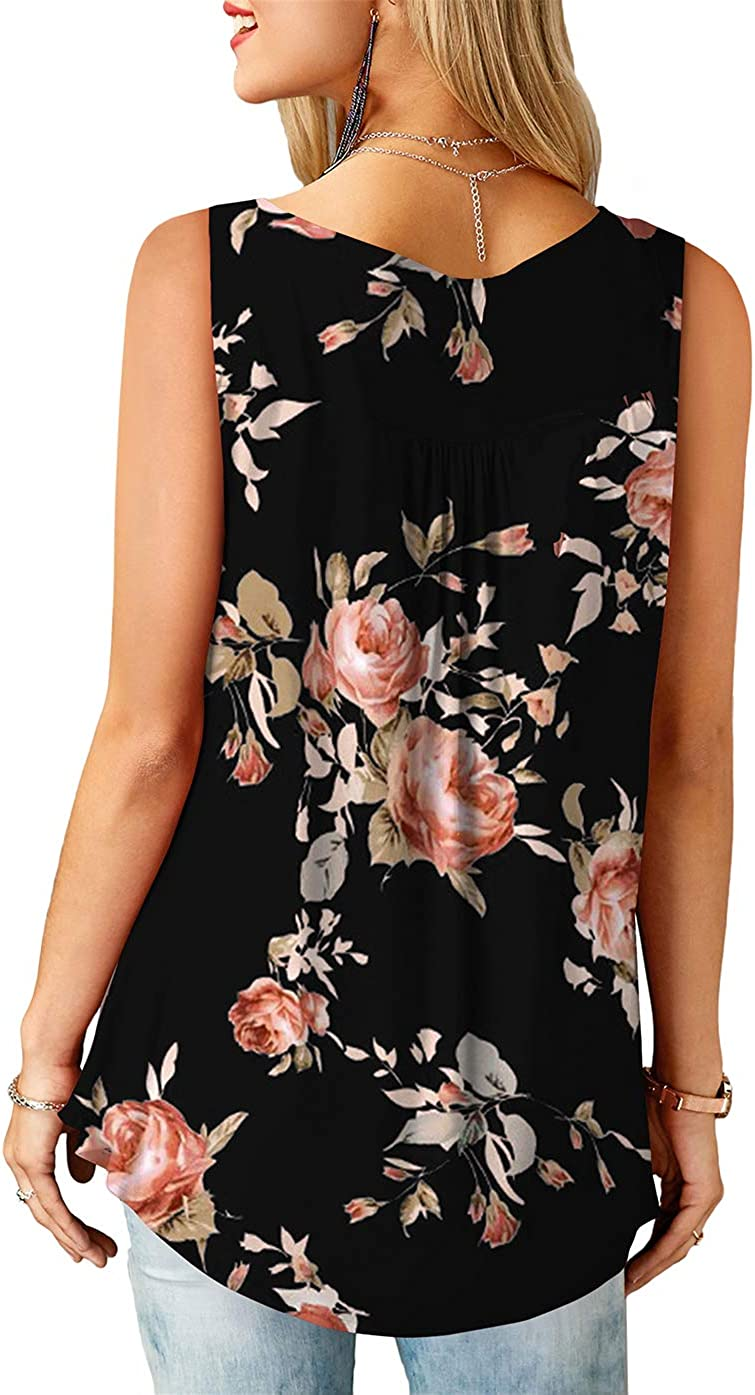 KISSMODA Ladies Shirts Button up Ruffle Casual Slleveless Tank Tops for Women