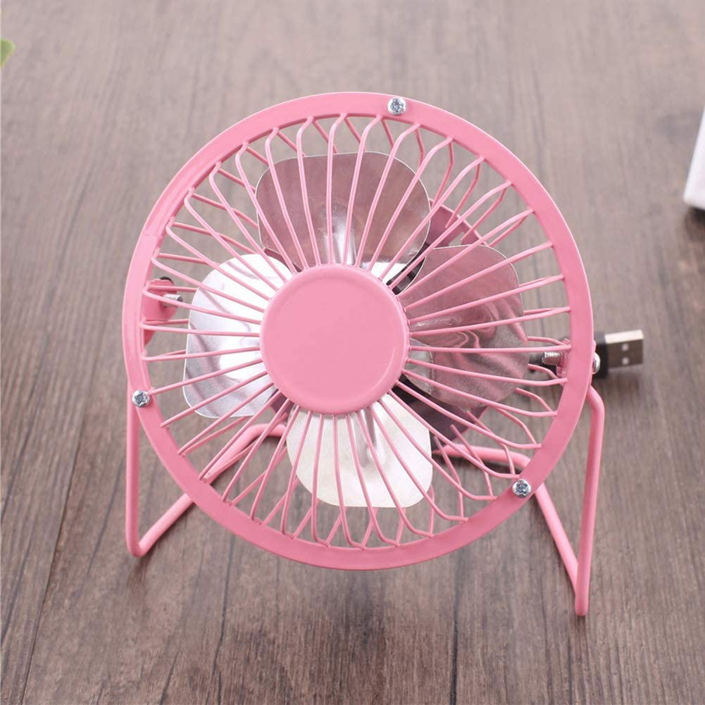 Mini USB Cooling Fan 4 inch Portable USB Charged Metal Mute Table Cooling Fan Home Office Air Cooler for Office Living Room Bedroom Blue