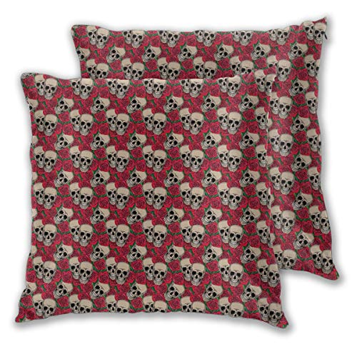 Wxcun Decor Pillow Covers Polyester Plush Square Throw Pillow Sofa Cushion Covers Set, Graphic Skulls and Red Rose Blossoms Halloween Inspired Retro Gothic Pattern,Couch Pillowcase Set of 2 Pack -