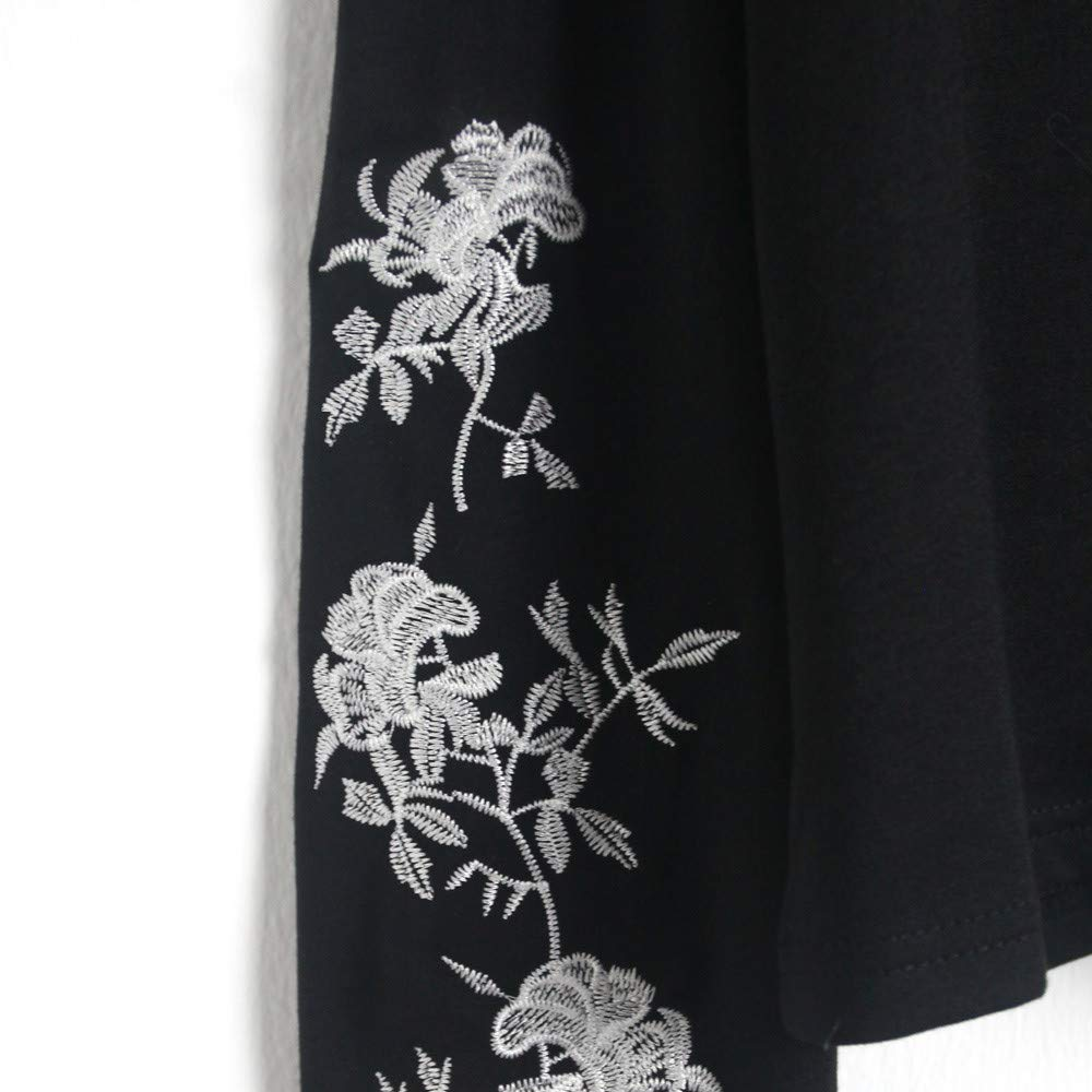 Colmkley Lady Embroidered Floral Casual Cotton Hooded Sweatshirt Pullover Blouse