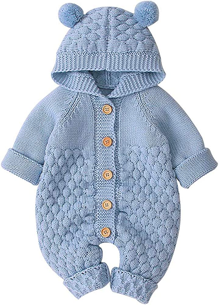 VICROAD Baby Hooded Knitted Rompers Newborn Girls Boys Onesies Warm Sweater Jumpsuit Outfits