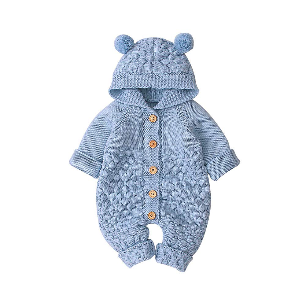 VICROAD Baby Hooded Knitted Rompers Girls Boys Long Sleeve Onesies Warm Sweater Jumpsuit Outfits