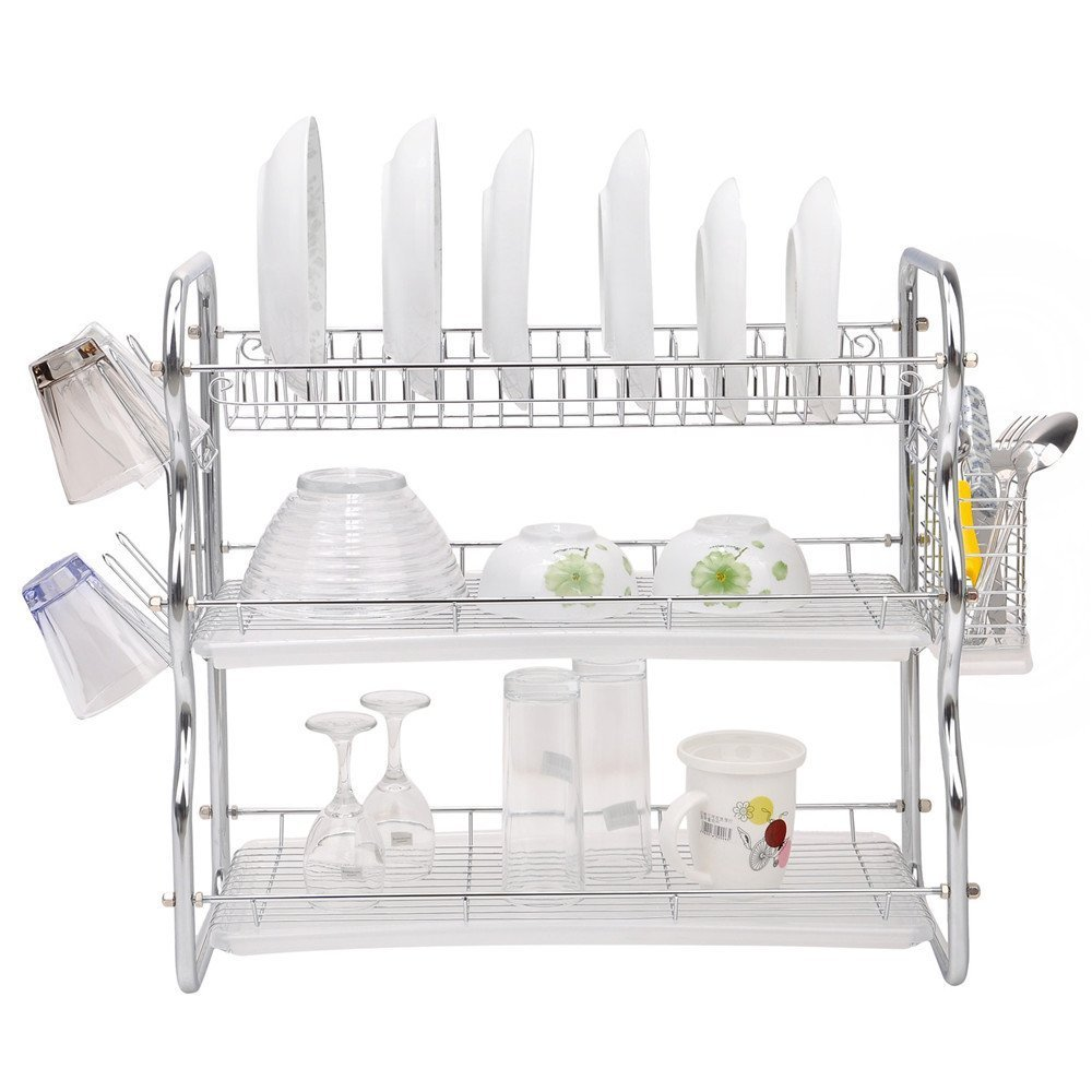 Toplife 3 Tier Chrome Kitchen Dish Drainer Drying Rack HF00253SI