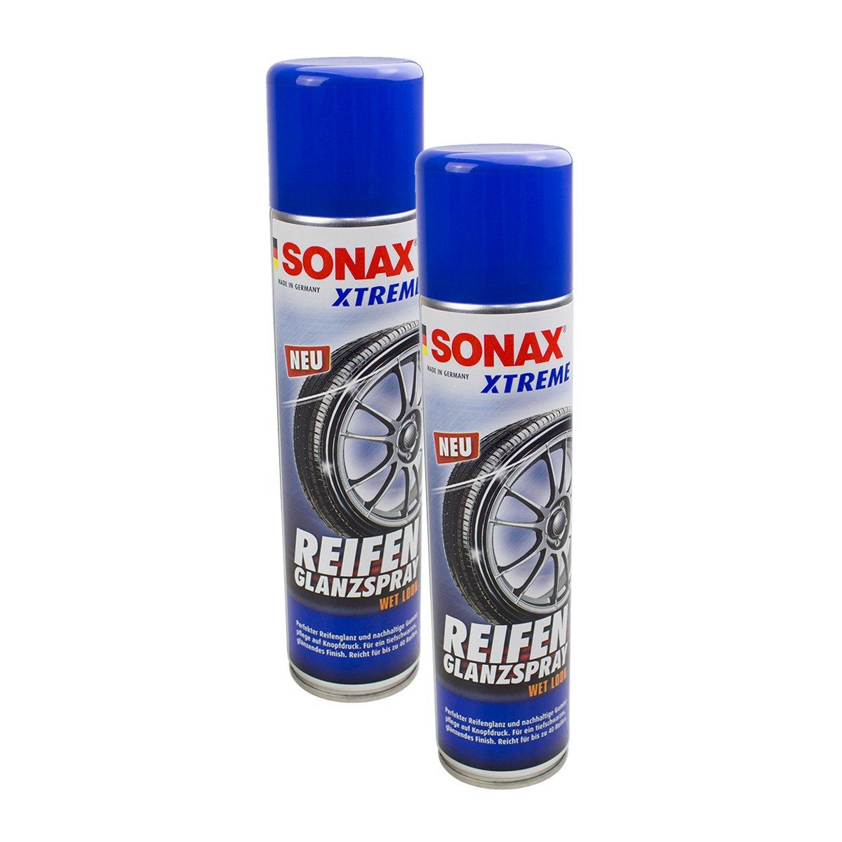 SONAX 2 x 02353000 Xtreme Neumá ticos Brillo Spray Wet Look Neumá ticos Spray 400 ML