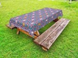 Ambesonne Arabian Outdoor Tablecloth, Geometric Lines and Stars Based on Traditional Oriental Eastern Artistic World, Decorative Washable Picnic Table Cloth, 58 X 120 inches, Multicolor