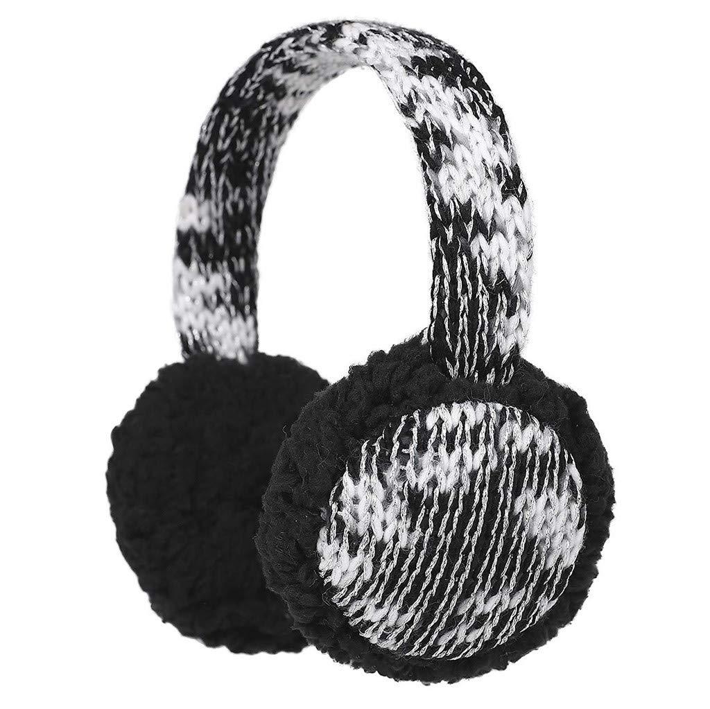 Baby Childs Cartoon Earmuffs.ZYooh Kintting Classic Warm Foldable Earmuffs with Fur Earwarmer Outdoor Earmuffs Headwear (Black)