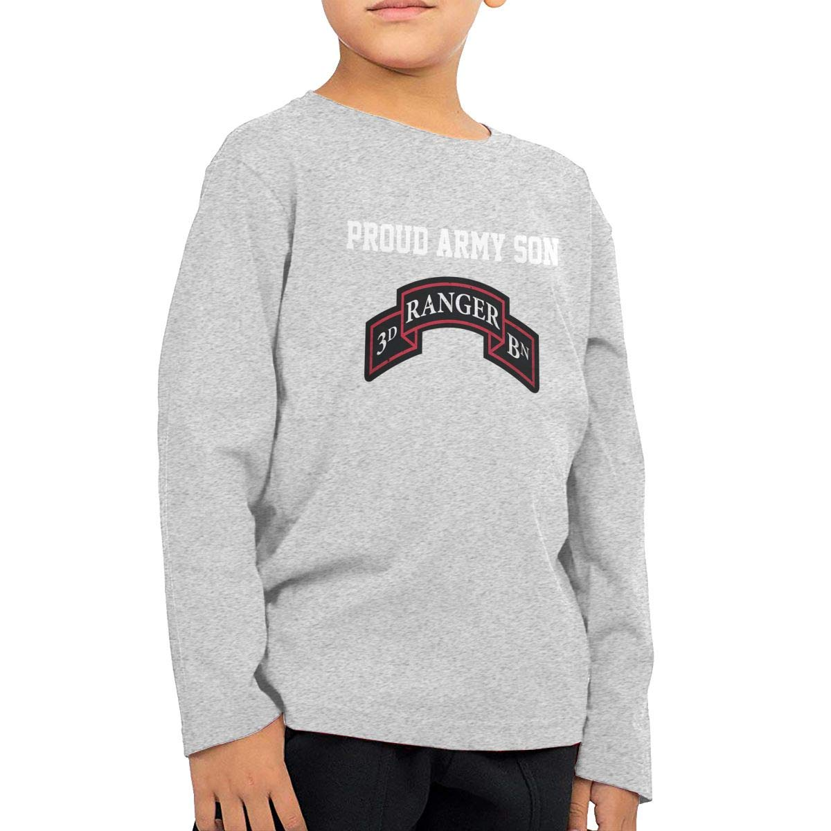 HADYKIDSLOVE US Army 3rd Ranger Battalion SSI Kids T-Shirt Long Sleeve Boys Girls T-Shirt