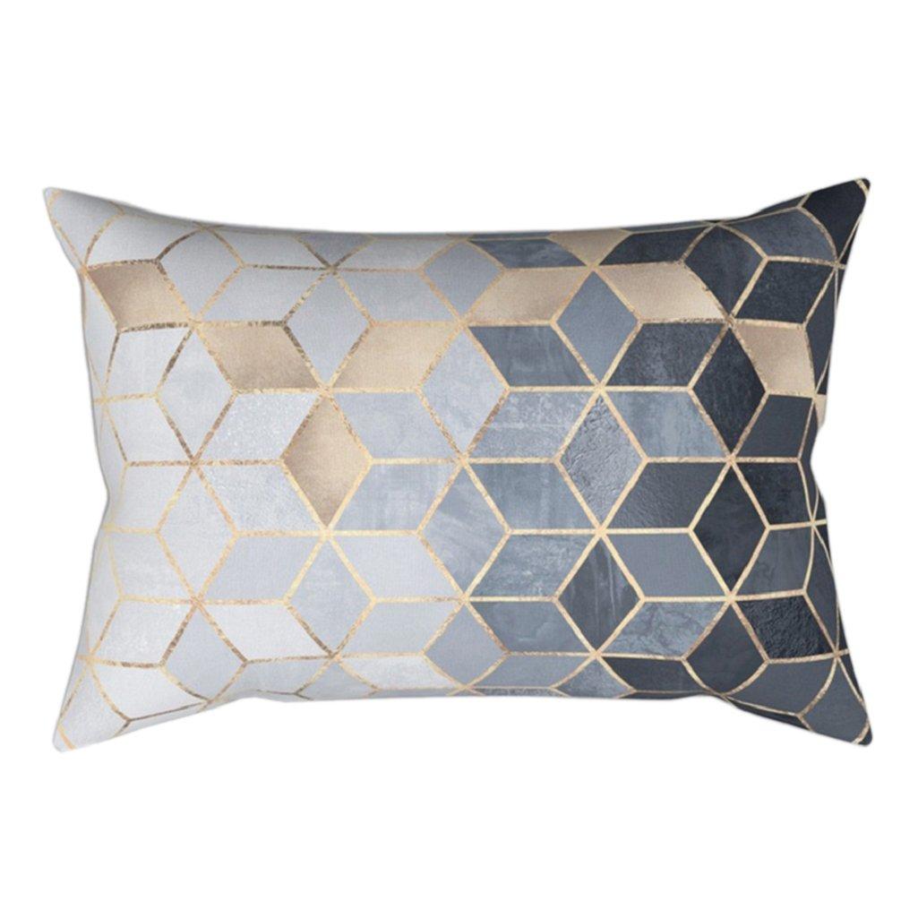 1# Pu Ran 18 inch Square Shape Modern Geometric Pillowcase Home Bedroom Cushion Cover Decor