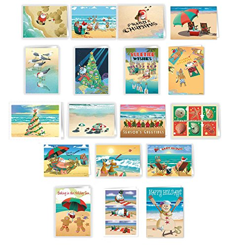 Ultimate Beach Christmas Card Variety Pack - 36 Beach Cards & Envelopes - 18 Different Beach ()