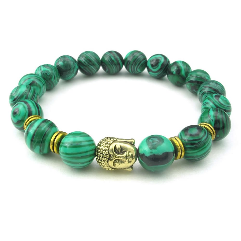 Konov Jewelry Malachite Mens Womens Bracelet, 10mm Natural Energy Gemstone Buddha Mala Yoga Bangle, Green Gold, with Gift Bag, C25102 10025102C