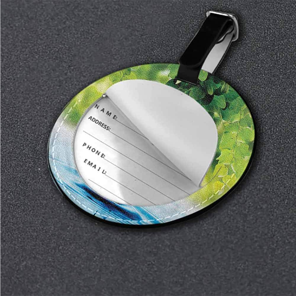 Multi-color Butterfly,Exotic Leaves Waterdrop Round Luggage Tags