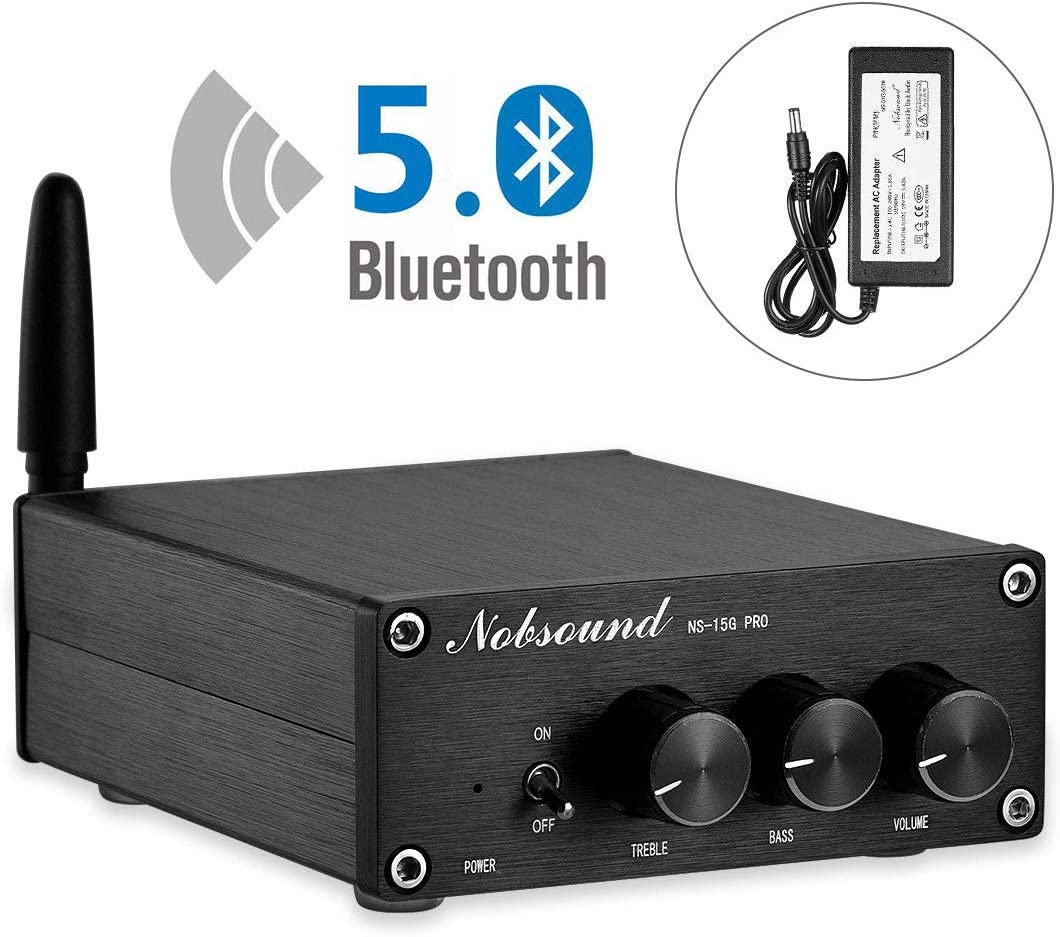 Nobsound 2 Channel Bluetooth 5.0 Amplifier , Class D Stereo Audio Amplifier , Mini Home Theater Power Amp , Digital Power Amplifier Receiver , 200W , Treble Bass Control NS-15G PRO