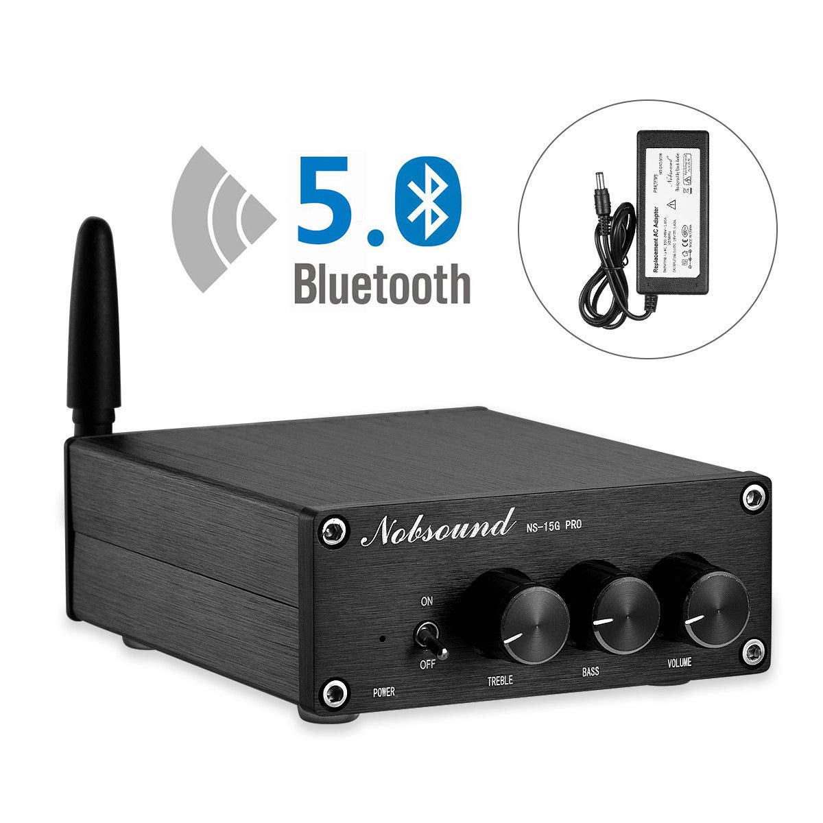 Nobsound 2 Channel Bluetooth 5.0 Amplifier , Class D Stereo Audio Amplifier , Mini Home Theater Power Amp , Digital Power Amplifier Receiver , 200W , Treble & Bass Control (NS-15G PRO) by Douk Audio