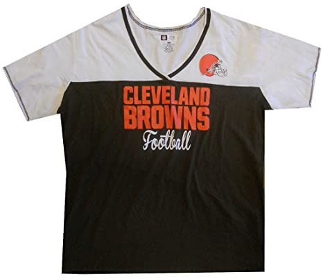 Cleveland Browns NFL Womens Football Miracle V-Neck Shirt Brown Plus Sizes  (1X) 36e5dfa6a
