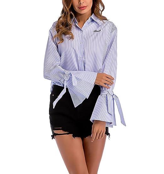 Camisas Mujer Elegante Primavera Otoño Acampanados Manga Larga con Cordones De Solapa Ropa Fiesta Modernas Moda Rayas Blusas Tops Casual Anchas Azul Blusa: ...
