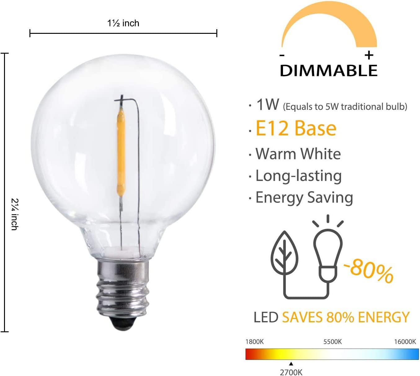 E12 Screw Base LED G... Moonflor 25-Pack Shatterproof LED G40 Replacement Bulbs