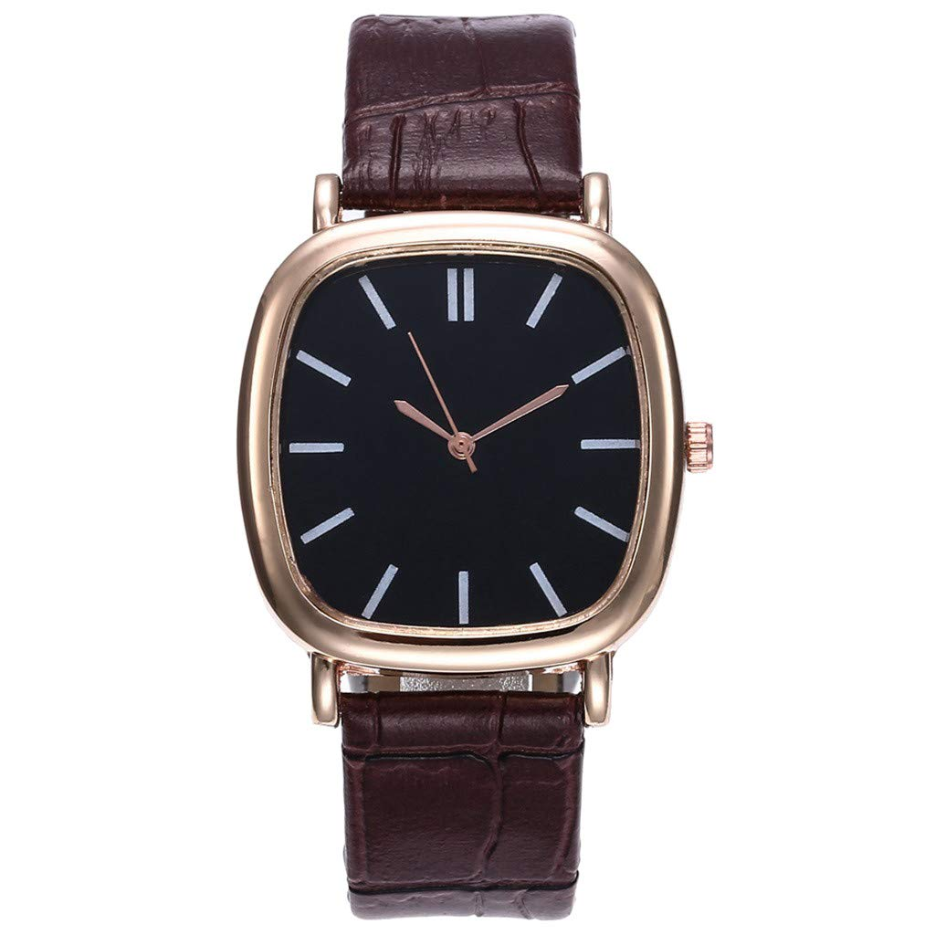 Toponly Men Women Couple Fashion Watch Leather Strap Line Analog Quartz Wrist Watches