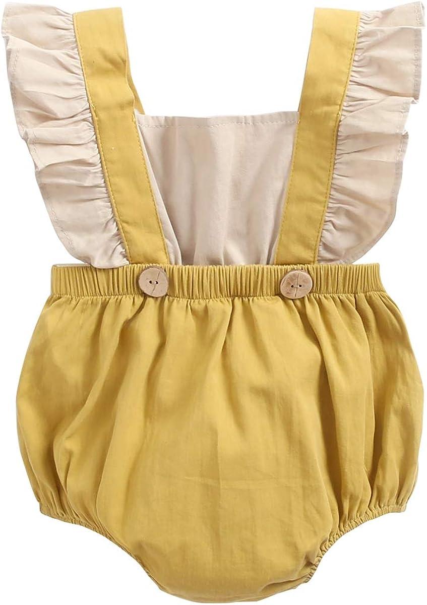 Sanlutoz Algod/ón Mamelucos para reci/én Nacidos Bebes Mangas con Volantes Ropa de beb/é Verano