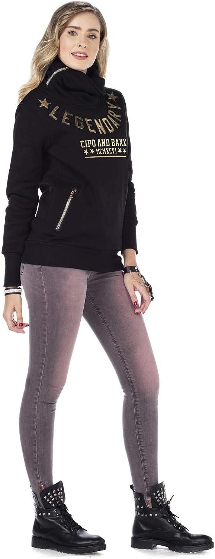 Cipo & Baxx Damen Sweatshirt Pullover Hoodie Rollkragen Print Sweater Pulli Schwarz