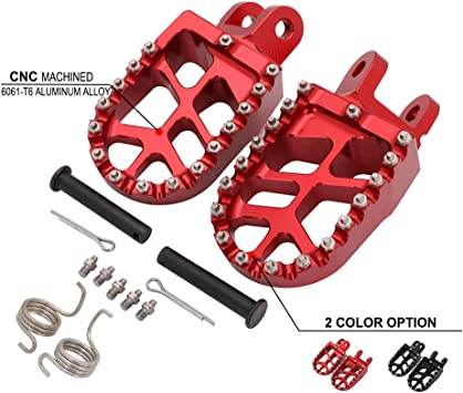JFG RACING Billet MX Wide Foot Pegs Pedals Rests For CR80R//RB 1996-2002 XR250R 1996-2004 XR400R 1996-2004 XR650L 1992-2019 CR85R//RB 2003-2007 XR600R 1989-2000 XR650R 2000-2007