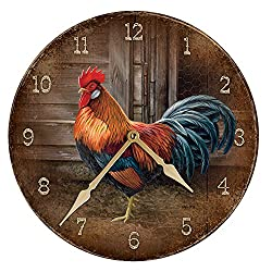 Leghorn - Rooster Round Clock by Rosemary Millette
