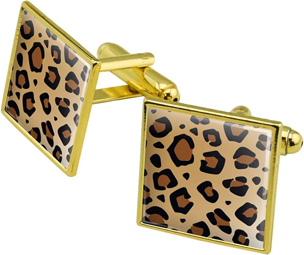 Graphics and More Leopard Print Animal Spots Square Cufflink Set - Silver or Gold