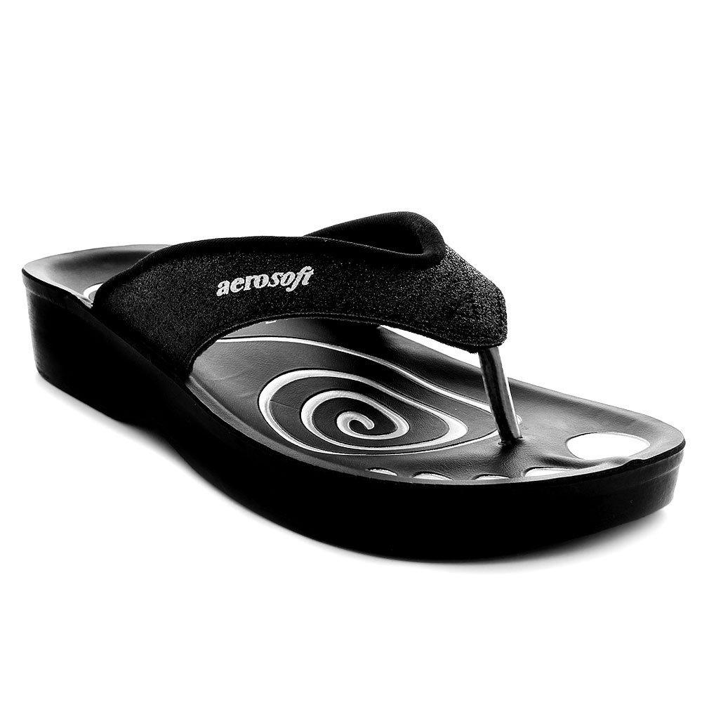 Aerosoft Women's Gliteratti Black Sandal - 9 M US