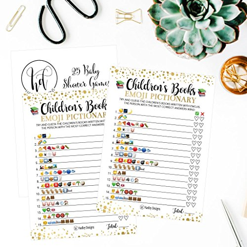 25 Emoji Children's Books Pictionary Baby Shower Game Party Ideas For Quiz Boy, Girl, Kids, Men, Women and Couples, Cute Classic Bundle Pack Set, Gold Pink or Blue Gender Neutral Unisex Fun Coed Cards by Hadley Designs (Image #2)