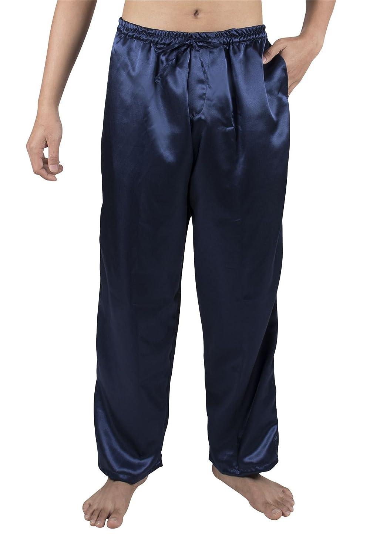 Lofbaz Hombres Pantalones largos S-5XL Plus de pijama de seda con satén de seda JyjGnFE4