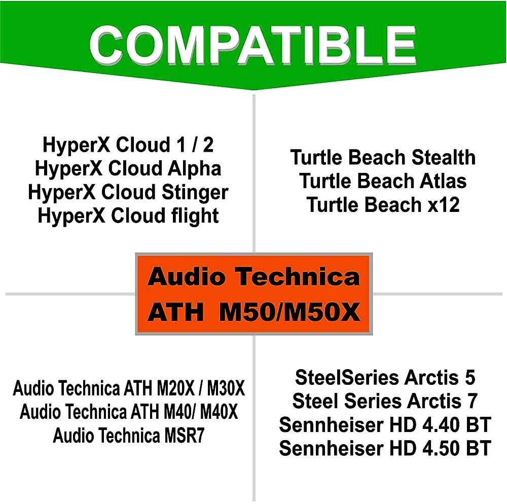 Also Compatible with M50XBT M40X M40 M50 Turtle Beach//HyperX//Sennheiser and More Full List Inside RAINSUNG for Audio Technica ATH M50X Cushion Ear Pads