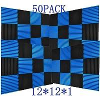 "50 Pack Ice Black&Blue Acoustic Panels Studio Foam Wedges 1"" X 12"" X 12"" (50Pcs, Black&Blue)"