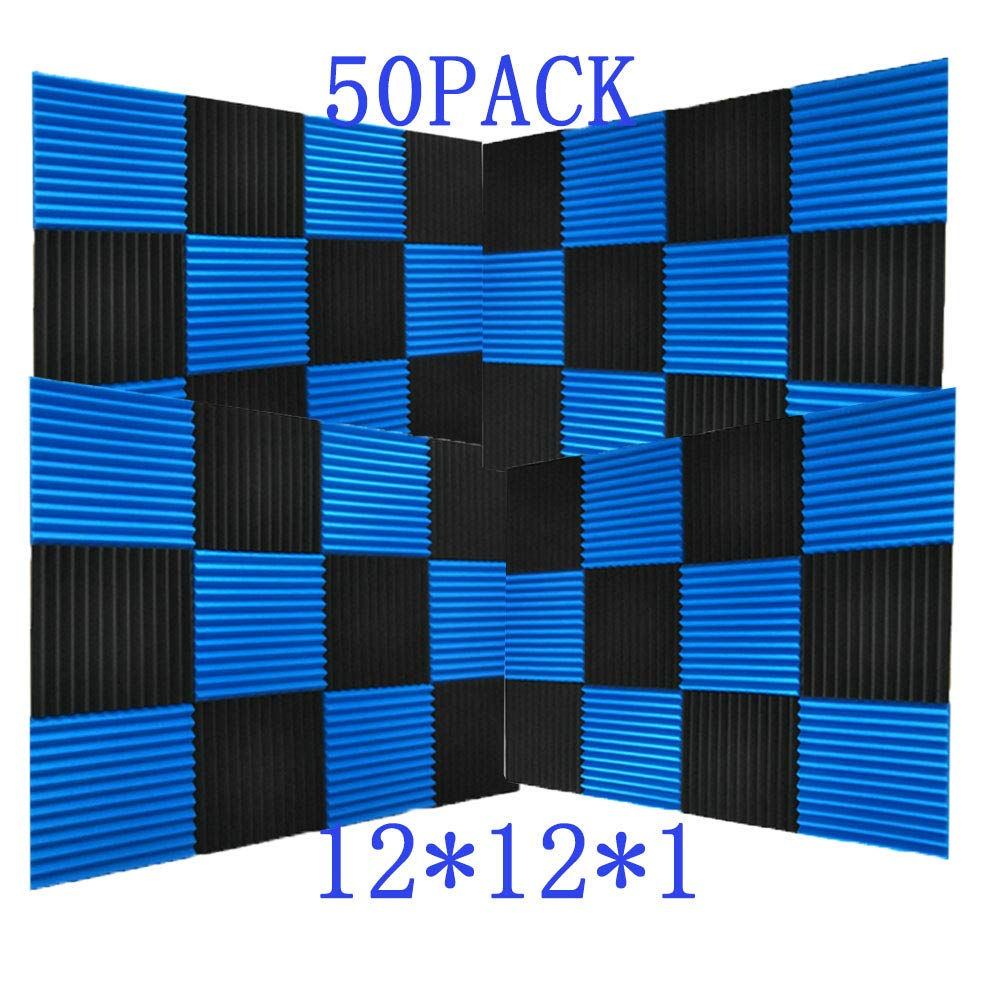 50 Pack All -Black/Blue Acoustic Panels Studio Foam Wedges 1'' X 12'' X 12'' (50pack, Black&Blue)