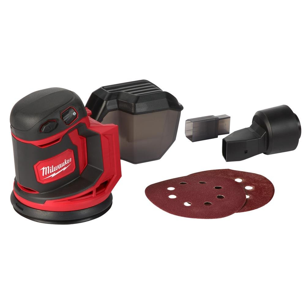 Milwaukee M18 18-Volt Lithium-Ion Powered Cordless 5 Random Orbit Sander with Quick Change Hook-and-Loop Sanding Pad, up to 12,000 OPM with Variable Speed Control Tool-Only Misc.