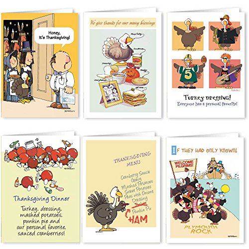 Thanksgiving Card Variety Pack - 18 Funny Thanksgiving Cards & Envelopes - 6 Humorous Designs