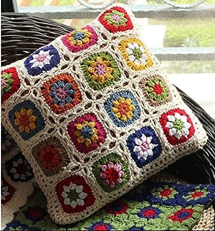 Nordic Crochet Daisy de almohada hecha a mano fundas de ...