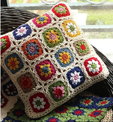 Nordic Crochet Bed Pillow Daisy Hand-woven Cushion Covers Decorative Cushion Flower Cushion Wedding Gift (450mm450mm)