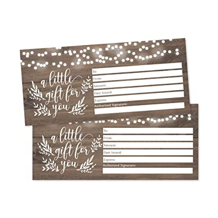 amazon com 25 4x9 rustic blank gift certificate cards vouchers for