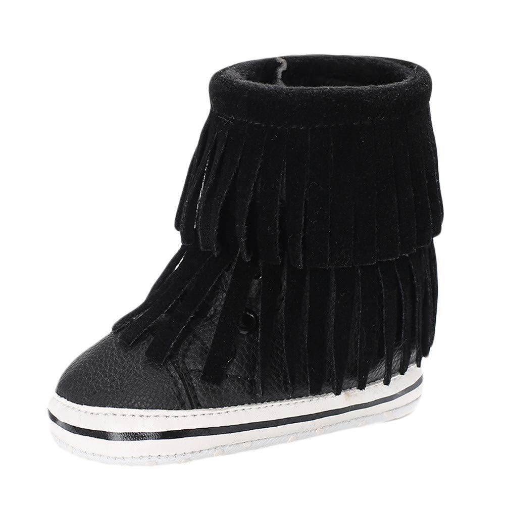 NUWFOR Infant Newborn Baby Girls Cashmere Tassels Winter Boots Prewalker Warm Shoes(Black,0~6 Month)