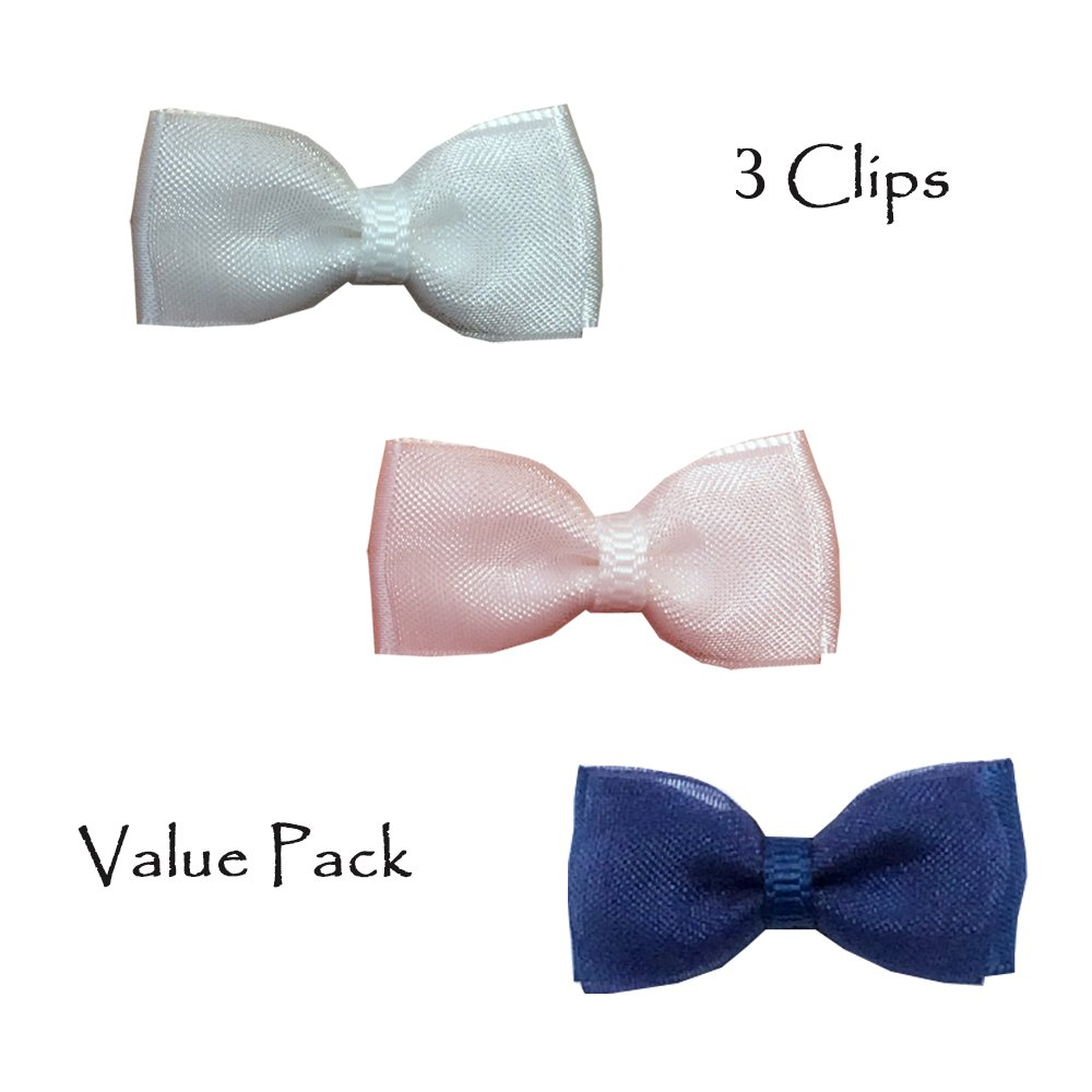TruStay Clip - Organza baby hair bows - Best No Slip Barrette for Fine Hair (Pack 3: White/Pink/Navy)