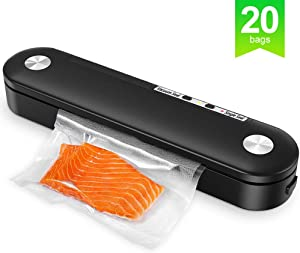 Food Vacuum Sealer Machine, Automatic Food Sealer Machine for Food Savers w/Starter Kit,Dry & Moist Food Modes,20 Pcs Vacuum Bags for Food Preservation and Sous Vide, Storage Saver