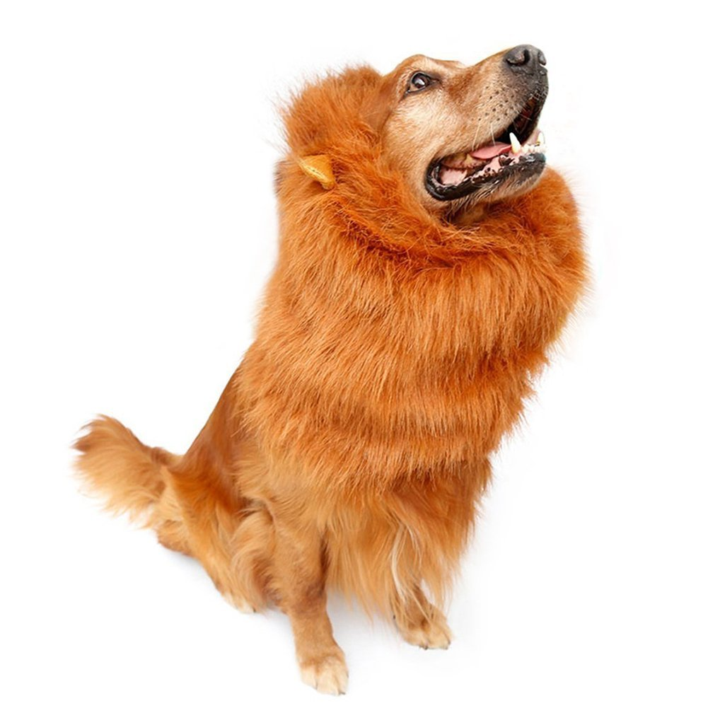 Lion Mane Wig,Adjustable Pet Costume with Ears for Dog,Party Festival Fancy Dress Up,Suitable for Medium to Large Sized Dogs(Dark Brown)