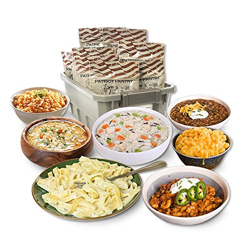 - Patriot Pantry Emergency Meals Kit, 48 Emergency Food Servings, up to 25-Year Shelf Life