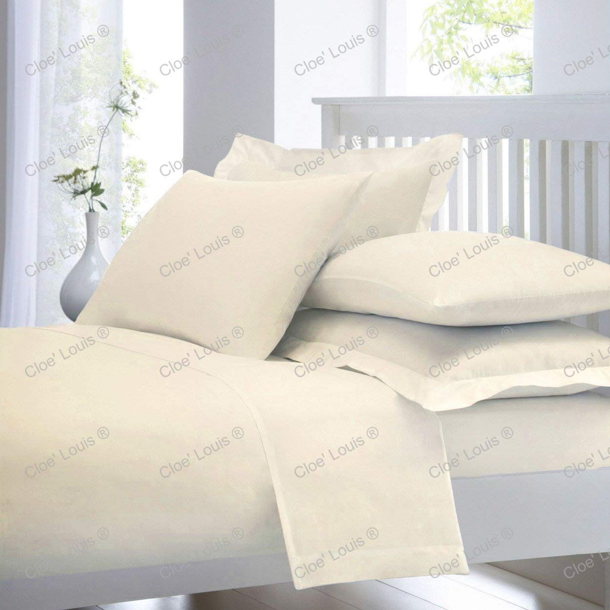 Cloe' Louis ® 200 Thread Count 100% Cotton Flat Bed Sheet Linen in Single Double King Super King Size or Pair of Pillow Cases (Double, Cream) Cloe' Louis